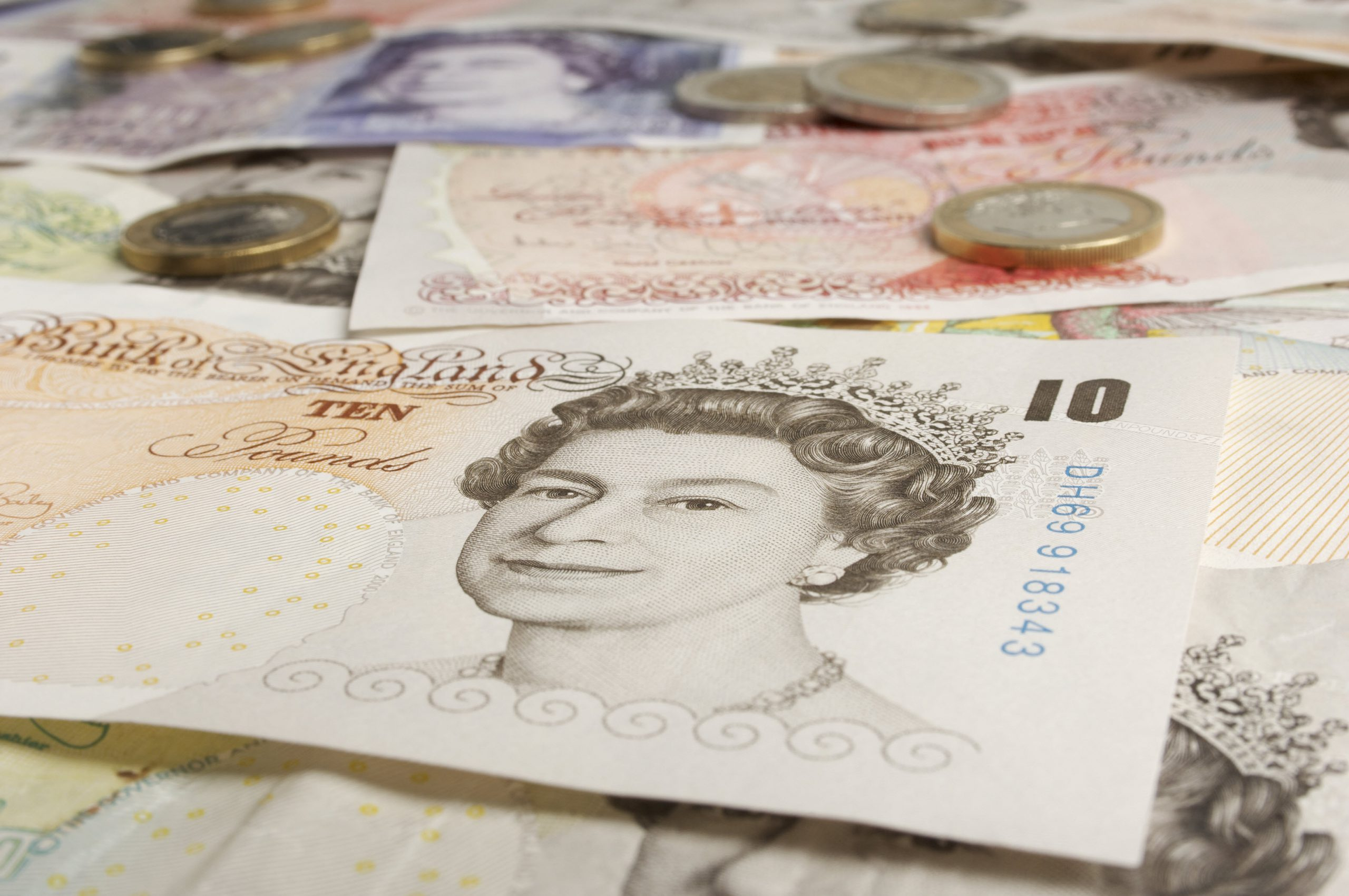 British paper currency close up