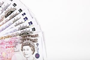 pound notes against white background
